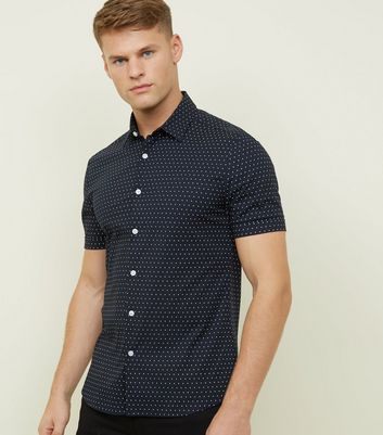 Black Spot Print Muscle Fit Shirt