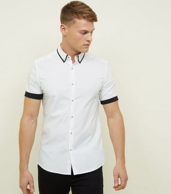 White Contrast Trim Muscle Fit Shirt