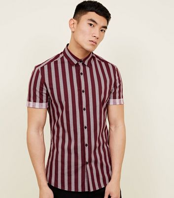 Burgundy Muscle Fit Stripe Printed Shirt