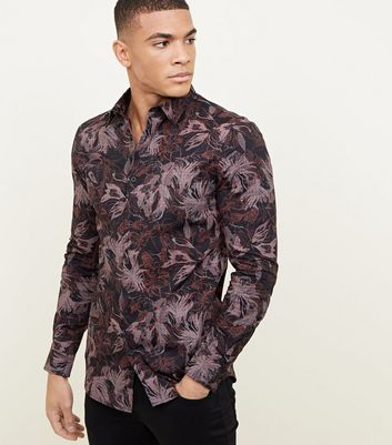 Black Floral Muscle Fit Long Sleeve Shirt