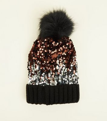 Black Ombré Sequin Bobble Hat