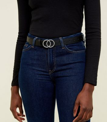 Black Diamanté Circle Belt