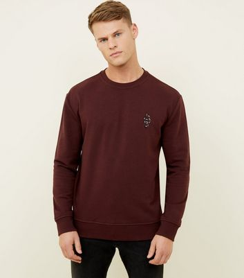 Burgundy Snake Embroidered Crew Neck Sweatshirt