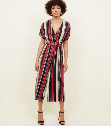 Red Stripe Ribbed Wrap Front Jumpsuit