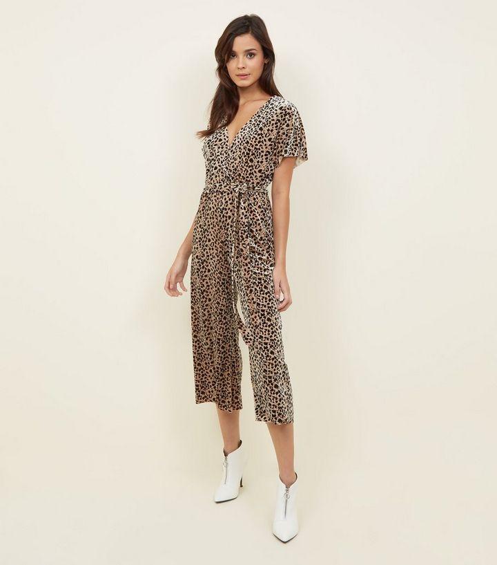 325f73f856 Brown Leopard Print Velvet Wrap Front Jumpsuit