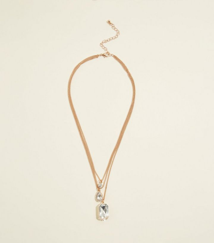 Gold layered chain gem pendant necklace new look shop the look aloadofball Gallery