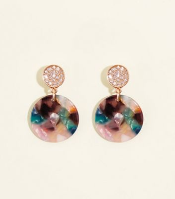 Multicoloured Resin Disc and Gem Drop Earrings