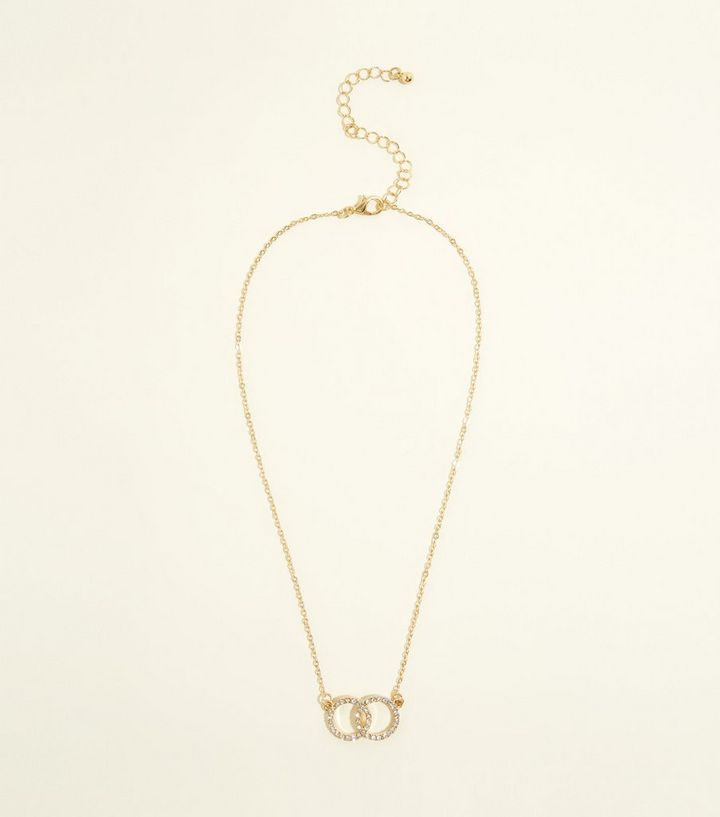 Gold Diamante Double Ring Pendant Necklace New Look