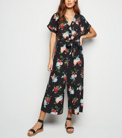 9be015f0fbfe ... Black Floral Wide Leg Jumpsuit ...