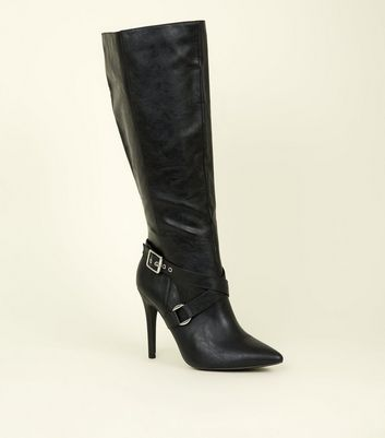 Wide Fit Black Buckle Strap Knee High Stiletto Boots