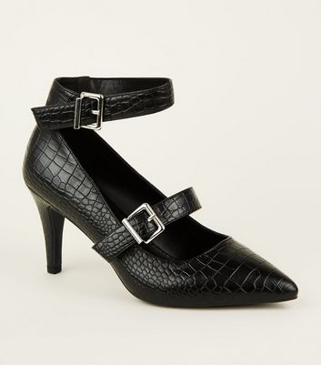 Wide Fit Black Faux Croc Pointed Court Shoes