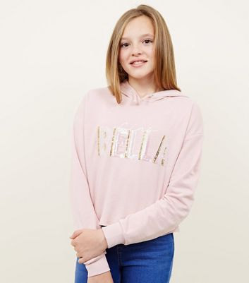 Girls Pink Ciao Bella Sequin Slogan Hoodie