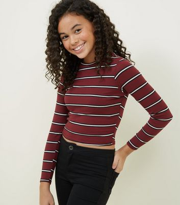 Girls Burgundy Stripe Ribbed High Neck Top