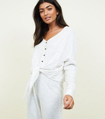 Pale Grey Brushed Rib Tie Front Pyjama Sweatshirt