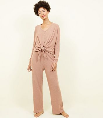 Light Brown Brushed Rib Tie Front Pyjama Sweatshirt