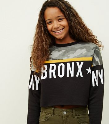 Girls Green Camo Bronx Print Sweatshirt