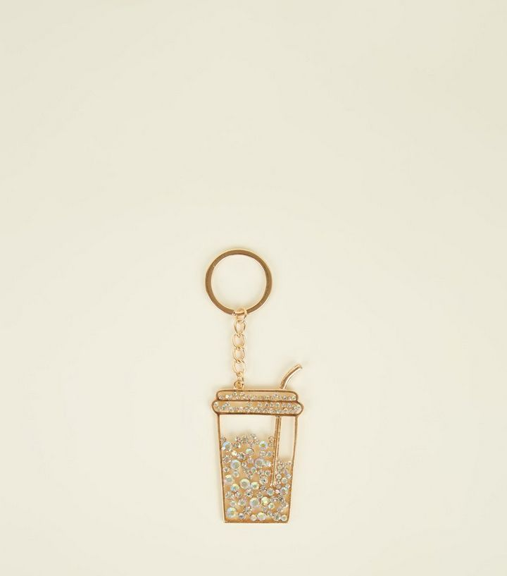 Gold Damanté Drink Cup Keyring  8d807b426