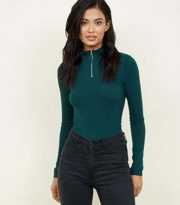 Dark Green Ribbed Ring Zip High Neck Top