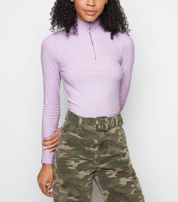 Lilac Ribbed Ring Zip High Neck Top