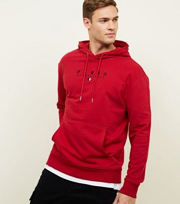Red Paris Embroidered Hoodie