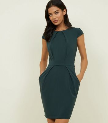 Blue Vanilla Dark Green Tie Back Tulip Dress