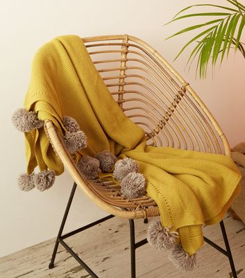 Yellow Pom Pom Trim Knit Throw