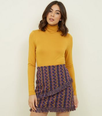Noisy May Purple Check Fringed Mini Skirt