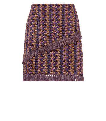 Noisy May Purple Check Fringed Mini Skirt New Look