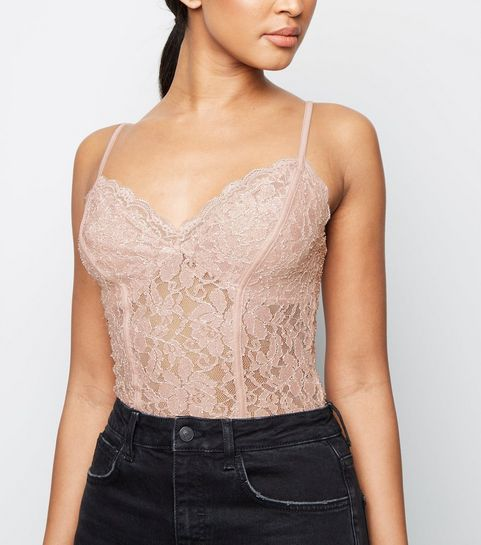 3879292187 ... Pale Pink Glitter Lace Bodysuit ...