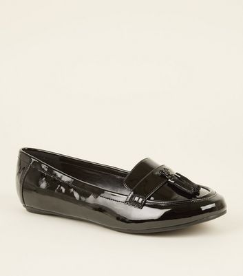 Extra Wide Fit Black Patent Tassel Front Loafers