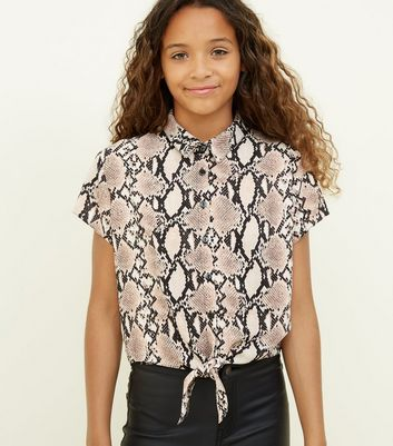 Girls Light Brown Snakeskin Print Shirt