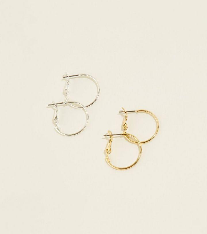 2 Pack Gold And Silver Skinny Hoop Earrings New Look