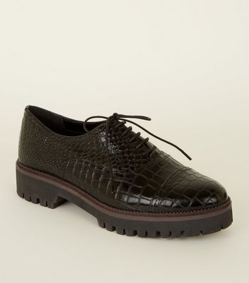 Black Leather Faux Croc Lace-Up Shoes
