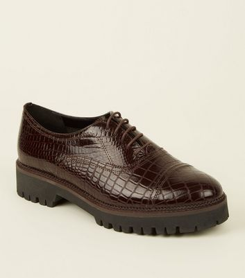 Burgundy Leather Faux Croc Lace-Up Shoes