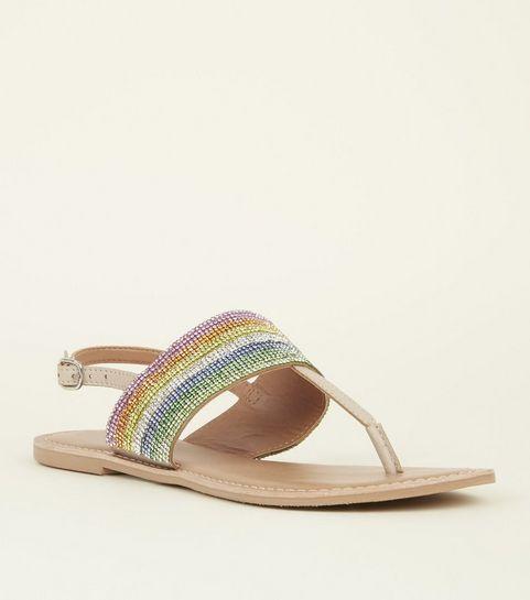 6798e96fabd6 Nude Leather Rainbow Diamanté Sandals · Nude Leather Rainbow Diamanté  Sandals ...