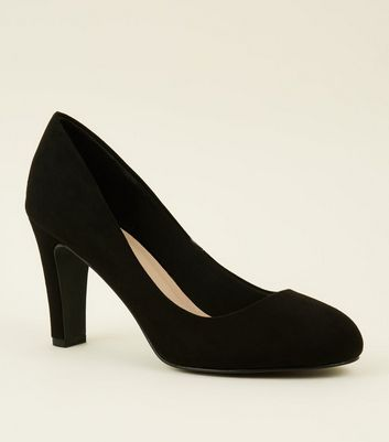 Black Comfort Flex Suedette Court Shoes