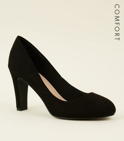 547b01886e4e ... Black Comfort Flex Suedette Court Shoes ...