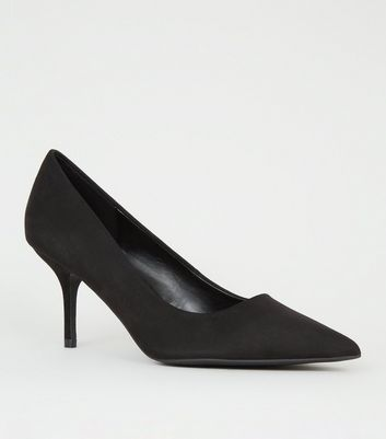 Black Suedette Mid Heel Pointed Courts by New Look