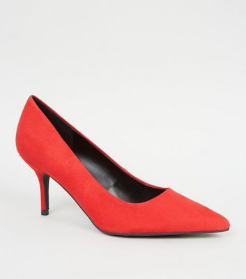 Red Suedette Mid Heel Pointed Courts