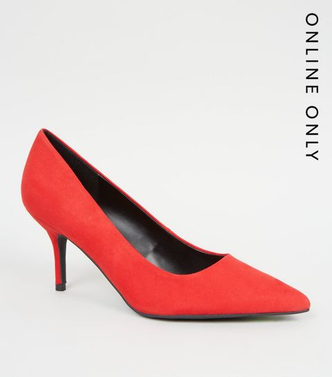 41cf3c1ccb40b ... Red Suedette Mid Heel Pointed Courts ...