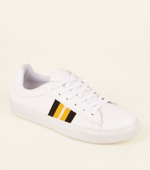 ... Girls White Leather-Look Side Stripe Trainers ... e1f4ae4b7