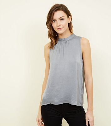 JDY Pale Grey High Neck Sleeveless Top