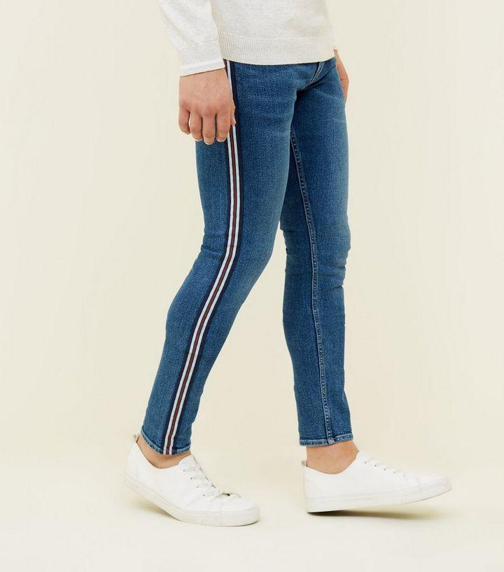 am besten kaufen Outlet Store Verkauf seriöse Seite Blaue Stretch Skinny Jeans mit seitlichen Streifen Für später speichern Von  gespeicherten Artikeln entfernen