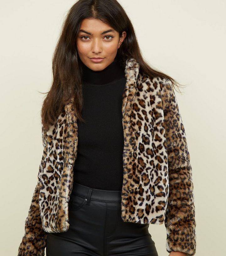 10858c13c34f JDY Brown Leopard Print Faux Fur Coat