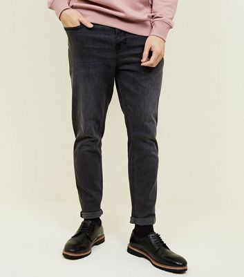 Black Washed Tapered Jeans