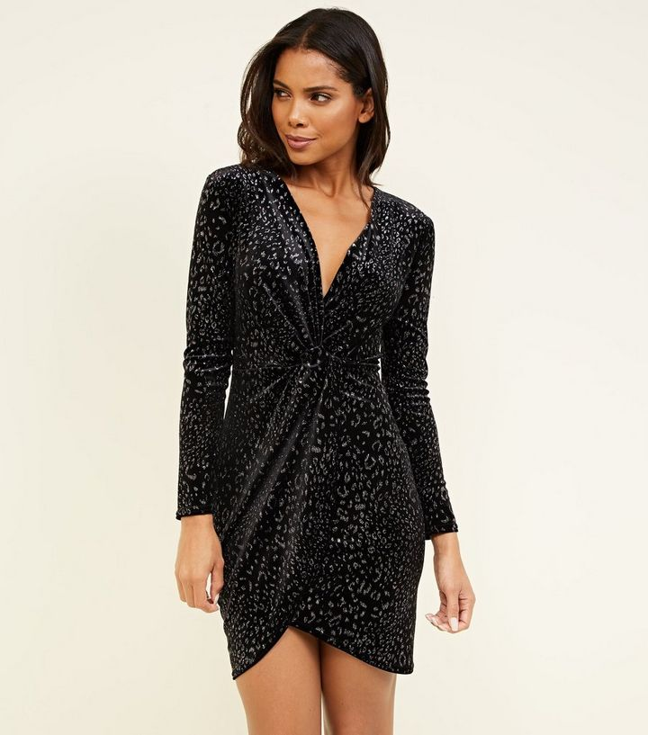 5c2c424b1853 Black Velvet Glitter Leopard Print Wrap Dress | New Look