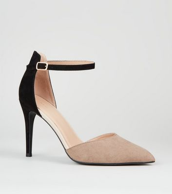 Stone Suedette Two Tone Pointed Courts