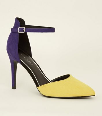 Purple and Yellow Two Part Stiletto Court Heels