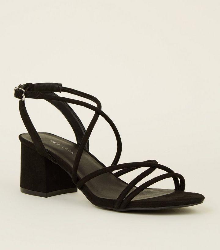 23d9dfca21 Black Tube Strap Low Heel Sandals | New Look