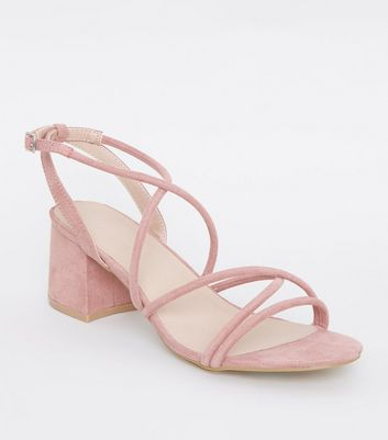Pink Tube Strap Low Heel Sandals